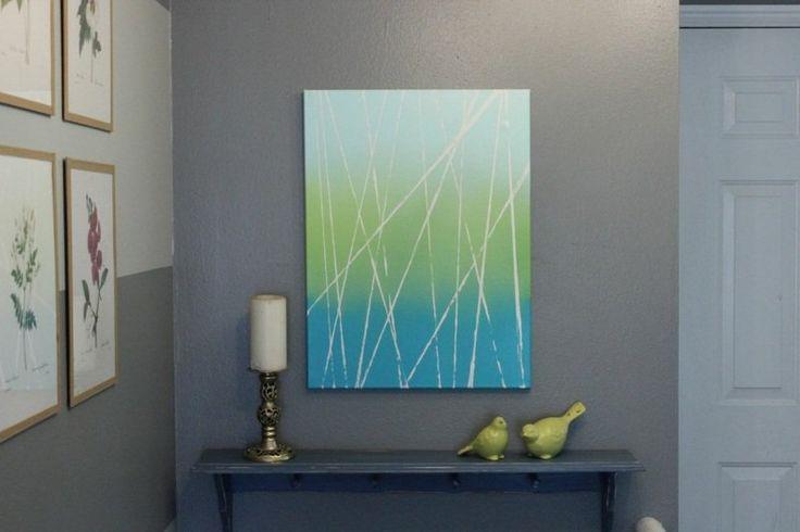 tableau abstrait dans la salon en 25 id es de d co murale d co bande et ruban adh sif washi. Black Bedroom Furniture Sets. Home Design Ideas