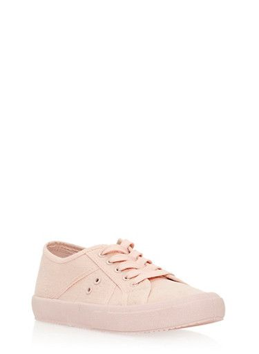 Lace Up Canvas Tennis Sneakers,PINK CVS