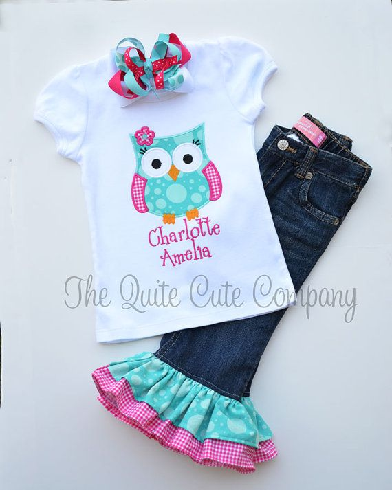 Perfect for Easter and Spring! Custom Double Ruffle Jeans, Applique Shirt, and OTT Hairbow