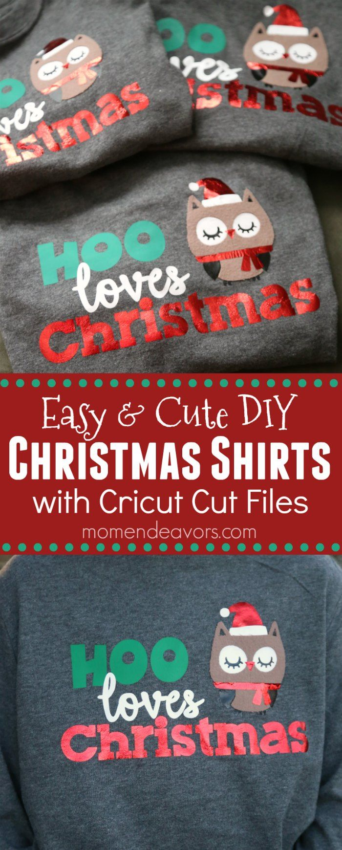 "Cute & Easy DIY Christmas Shirts for Kids - click to download the cute ""Hoo Loves Christmas"" Owl Cricut Cut File Design! #CricutHoliday #CricutMade #ad"