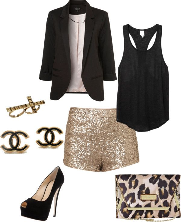 """""""night out look"""" by jordan-yeary on Polyvore - I think I want some glitter shorts for Vegas... @Leigh Scott"""