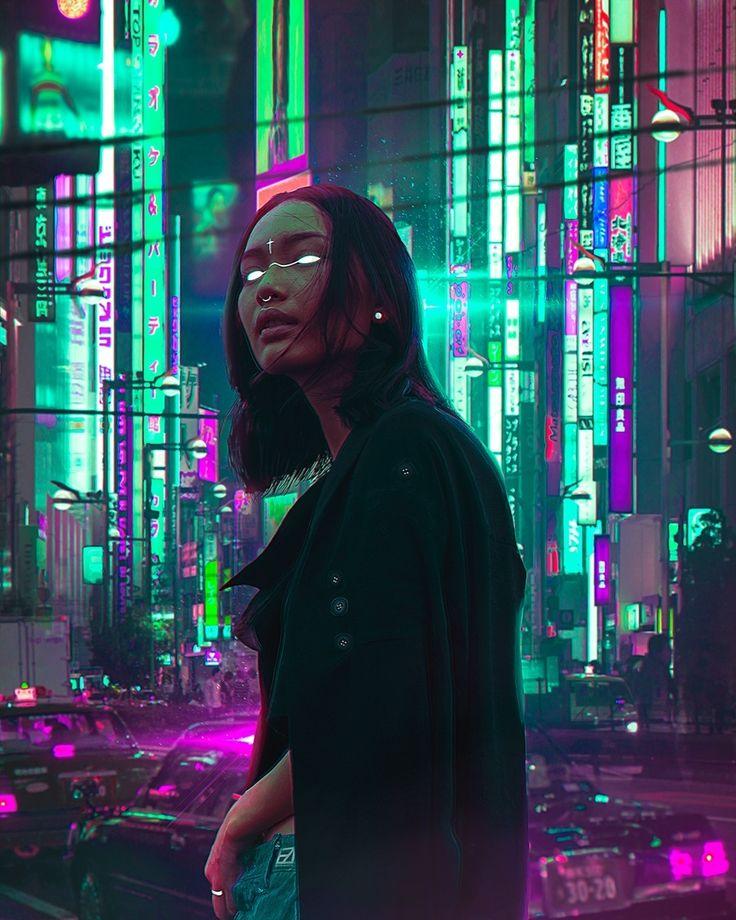 Cyberpunk Asian girl in black coat, glowing eyes, glow, watch, cyberpunk androi…