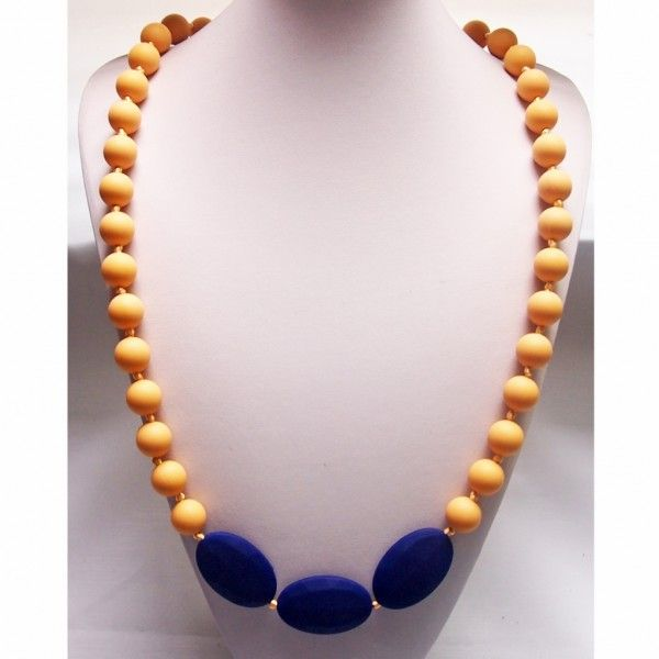 Navy Mixed Seed and Round Beaded Food Grade Silicon Teething Necklace