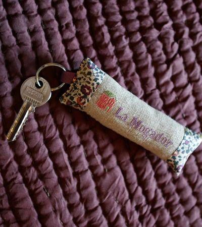 #Mogador #cléchambremaroc #bonheurboheme Porte clé fait maison, tissu liberty
