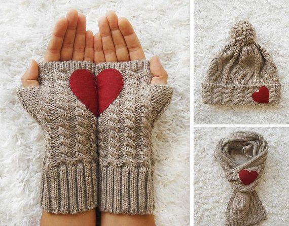 "Handmade Christmas ""Heart"" Scarf, Gloves & Hat Set"