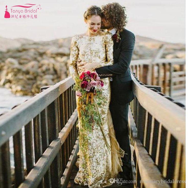 Best 25 sequin wedding dresses ideas on pinterest gold for Long sleeve sequin wedding dress
