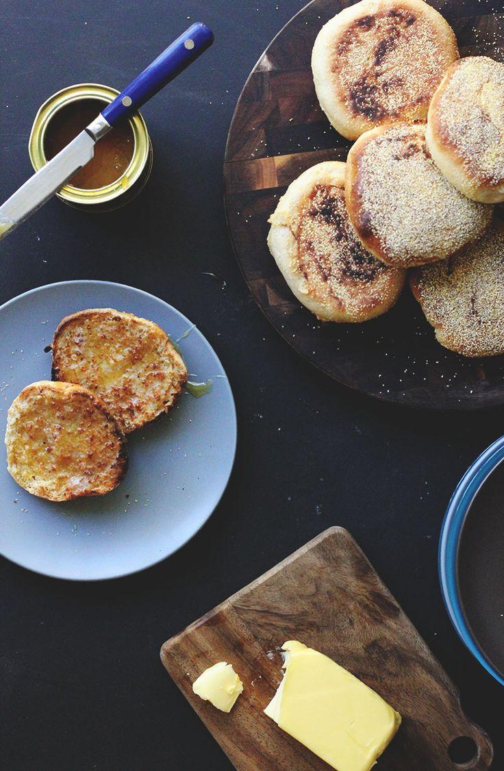 // Honey Whole Wheat English Muffins