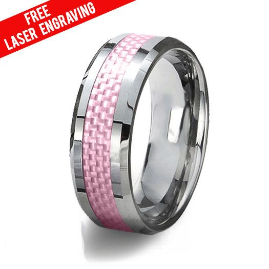 Tungsten Carbide Ring & Pink Carbon Fiber Inlay,Tungsten Wedding Ring,High Polished Comfort Fit,Free Laser Engraving,Wedding Mens Band