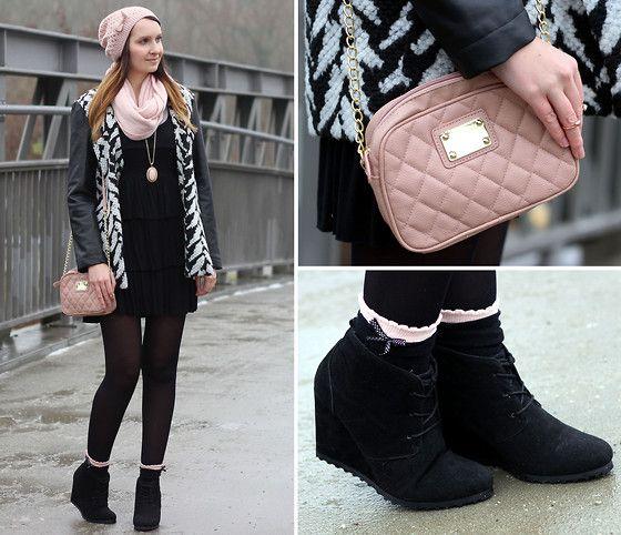 """""""Broken trust and broken hearts!"""" Primark Pink Bag, Primark Wedges, Primark Coat, Tally Weijl Black Dress"""
