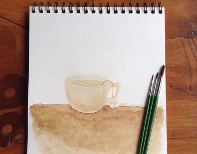 Experimented with a new medium, coffee. Using coffee stain, I painted this cup of tea