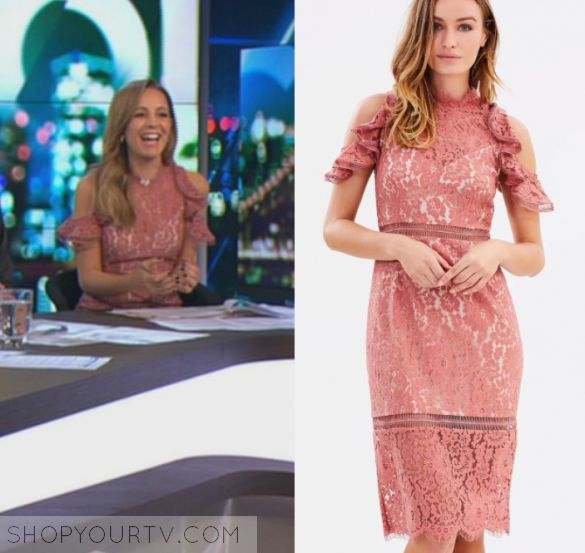The Project: May 2017 Carrie's Pink Lace Dress   Shop Your TV Carrie Bickmore wears this pink cold shoulder ruffle sleeve lace midi dress in this episode of The Project on May 22nd, 2017.  It is the Keepsake Oblivion Lace Midi Dress