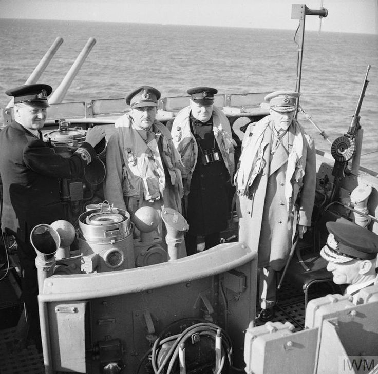 Winston Churchill with Field Marshal Jan Smuts of the Imperial War Cabinet (right) and Field Marshal Sir Alan Brooke CIGS (Chief of the Imperial General Staff) on board the destroyer conveying his party to Normandy 12th June 1944. [800x794]