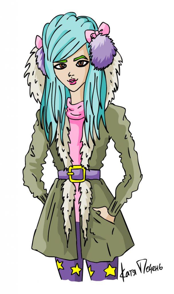 бирюзовые волосы, сиреневые  леггинсы со звездами, меховые наушники