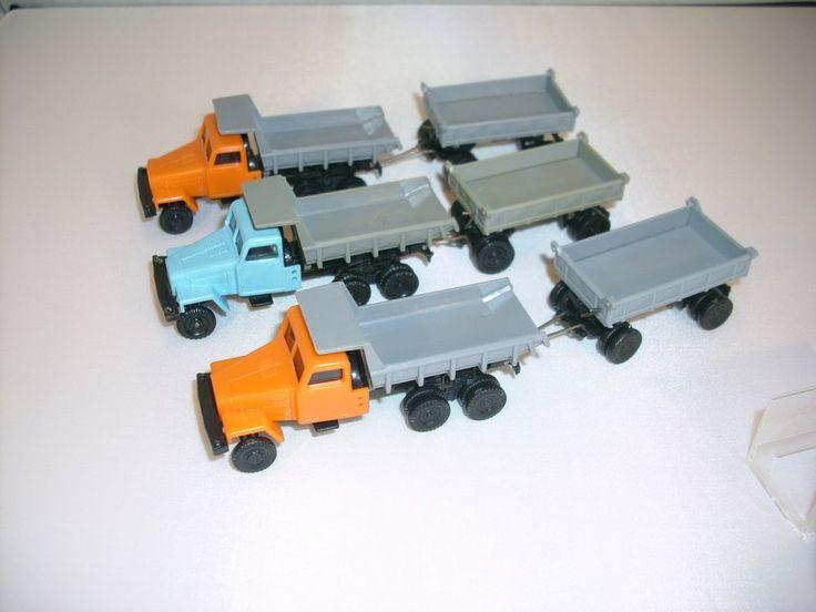 3 St DDR Modellauto LKW G5 Kipper mit Anhänger für H0 Bahn