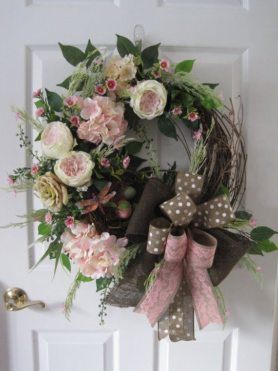 Spring Wedding Wreath, Summer Wreath, XL Front Door Wreath, Mother's Day Wreath, Chocolate, Pink Wreath, Grapevine Wreath, Custom Wreath