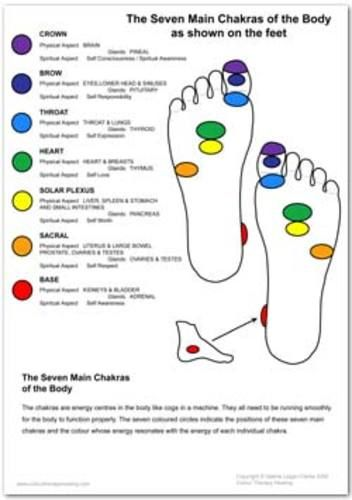 Energy Chakra center on the soles of the feet. Feet, like hands, are secondary chakra centers connected to the nervous system.