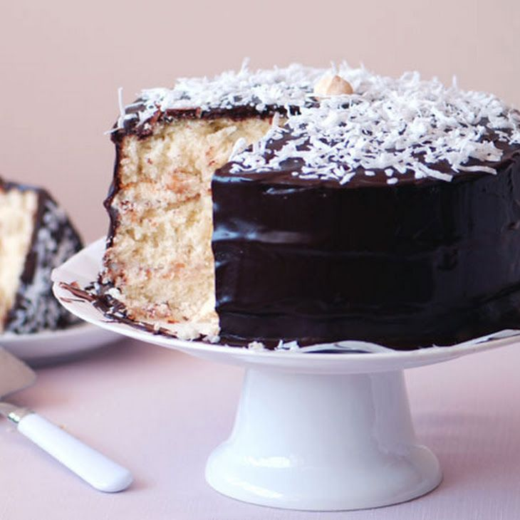 love coconut + love chocolate=Coconut Layer Cake with Chocolate Glaze