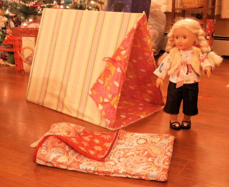 DIY American Girl Tent & Sleeping Bag - this would be great made out of drop cloth and painted like Molly's retired camp tent.