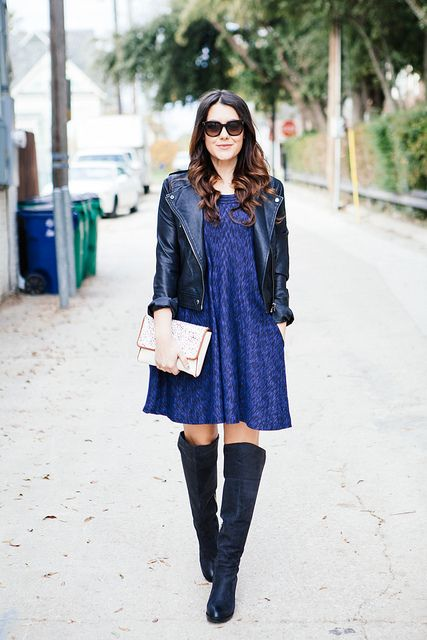 vestido, jaqueta e bota overknee