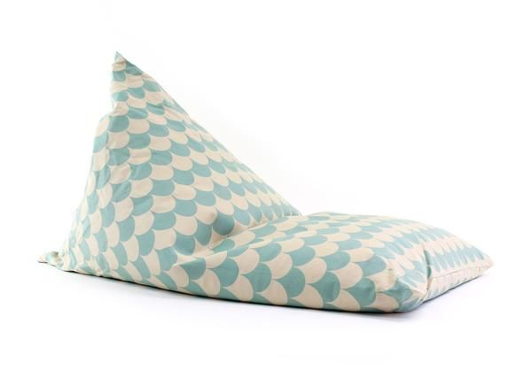 The biggest bean bag from Nobodinoz. These super cool Essaouira bean bags in green and white scale pattern will look great in any modern bedroom, or play room.