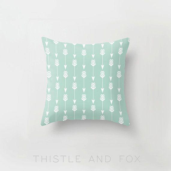 Arrow in Seafoam, Pillow Slip Cushion Cover, Woodland Tribal Mint Green