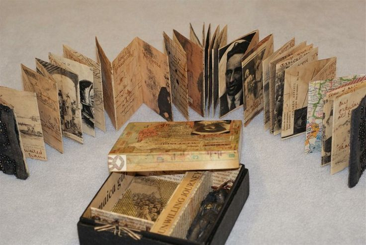 Unwilling Journeys by Inga Hunter. Boxed accordion book of my family history, in which most of my women relatives have been put into boats & taken where they didn't want to go. Board, paper, photocopies, paint, metal mesh, cast paper figure, collage, chain, old fabric etc.