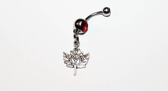 Maple Leaf Belly Button Ring Canadian Canada Body Jewelry