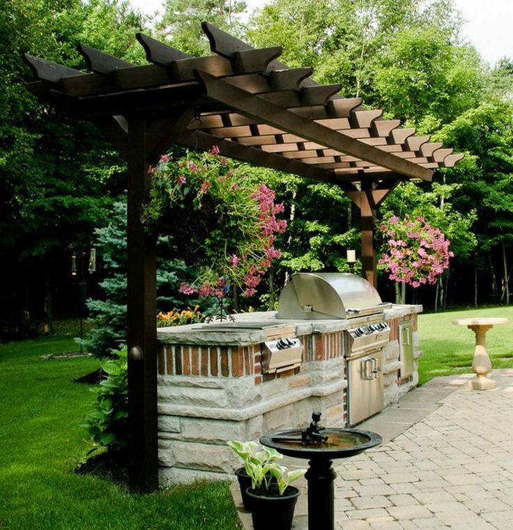 Two post pergola plan home sweet home pinterest for Outdoor kitchen pergola ideas