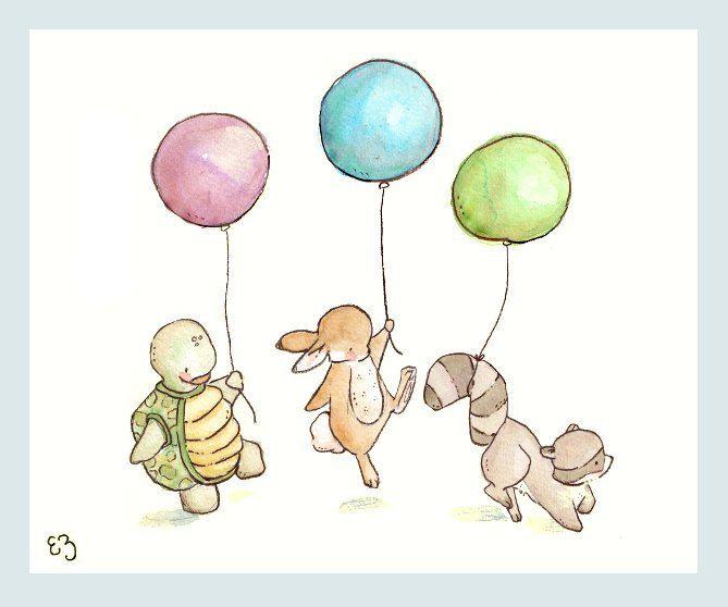 Children+Art+Print.+Balloon+Parade.+PRINT+8X10.+by+LoxlyHollow,+$24.00