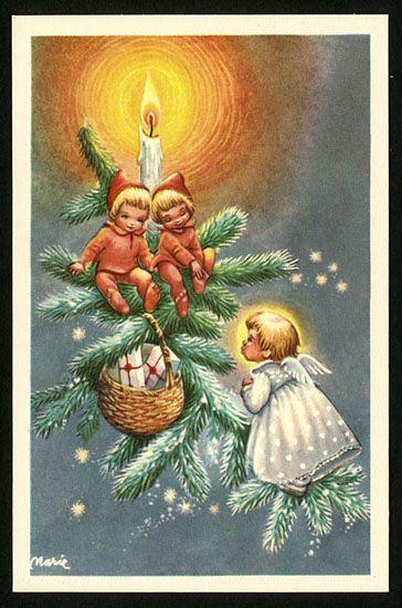 166 Best Gamla Julkort Vintage Christmas Cards Images On