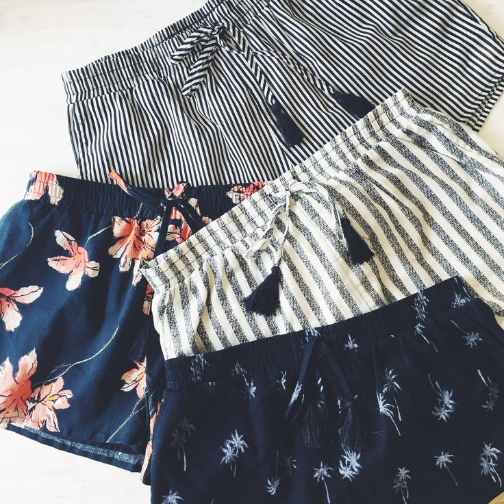 Laying out the shorts we love. Mix it up with floral prints and stripes this summer in our womens drapey short. Who doesn't love a good flat lay! || Cotton On || 2017 || Summer Fashion