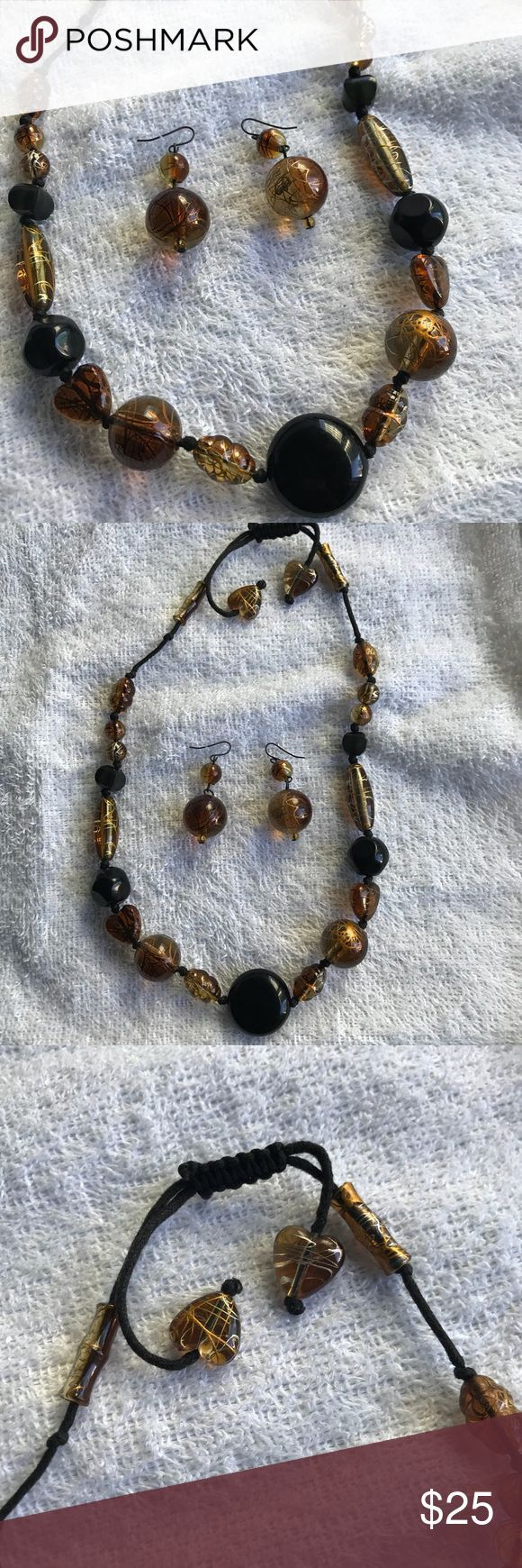Necklace & Earring Set Pretty bohemian necklace and earring set in amber and black onyx colors. Dress it up or down for a look that's on trend! EUC. Jewelry Necklaces