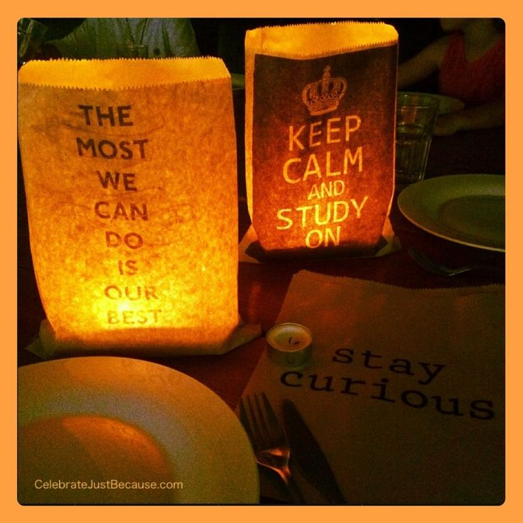 """Paper """"TUCKSHOP"""" Bag Luminaries. Back to school encouragement at the dinner table!"""