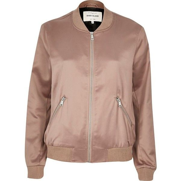 River Island Pink satin bomber jacket (£45) ❤ liked on Polyvore featuring outerwear, jackets, coats, tops, pink, brown bomber jacket, pink bomber jacket, brown jacket, pink jacket and tall jackets