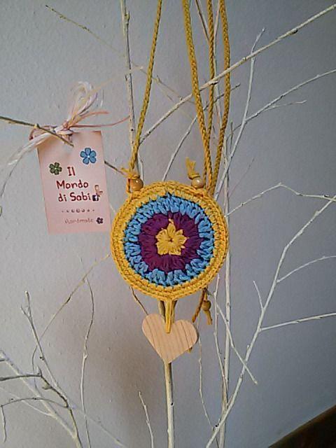 Collana Nahimana, stile boho, all'uncinetto, in cotone naturale. : Collane di il-mondo-di-sabi
