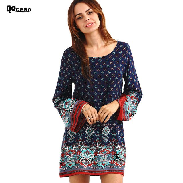 Spring Women Vintage Ethnic Dress Baroque Style Long Sleeve Bohemian Dress Casual Plus Size Floral Print Beach Dresses QD032