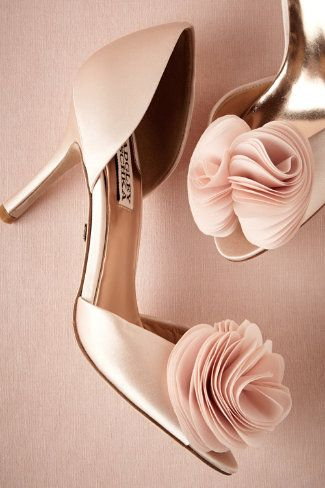 .....Badgley Mischka's classic pale pink heels....... ruffled rose pom - Handmade $195.00 ...... love love love