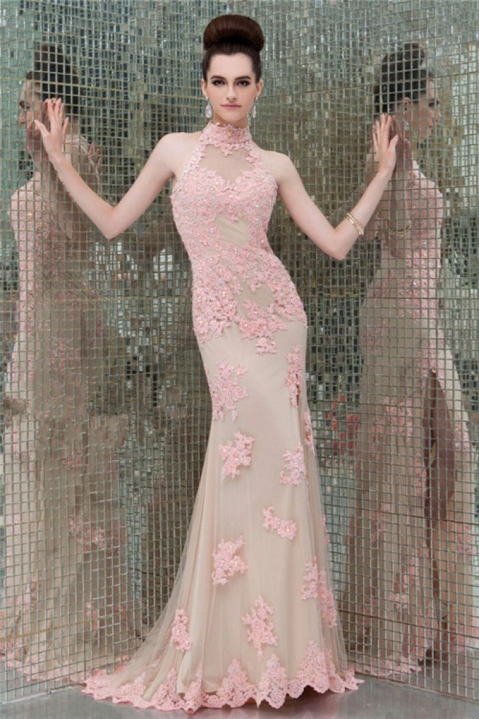 9f152675f34 Slim High Neck Cut Out Open Back Long Light Pink Lace Beaded Evening Prom  Dress
