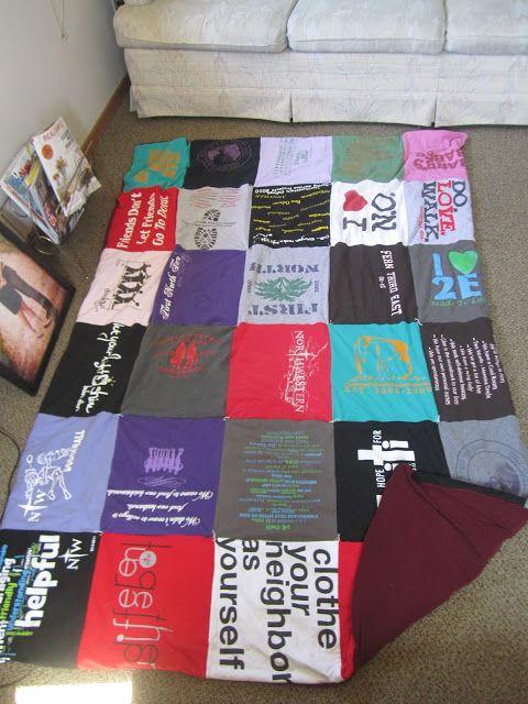 simple tshirt quilt for beginners from http://ketoews.blogspot.com/2013/02/craft-time-t-shirt-quilt.html
