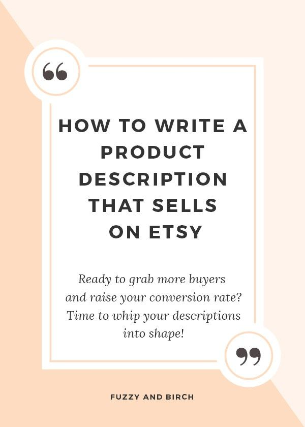 how to write a product description that sells on etsy
