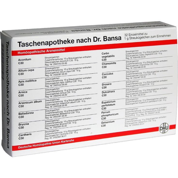 DHU Taschenapotheke Dr.Bansa:   Packungsinhalt: 1 St Kombipackung PZN: 07153623 Hersteller: DHU-Arzneimittel GmbH & Co. KG Preis: 55,44…