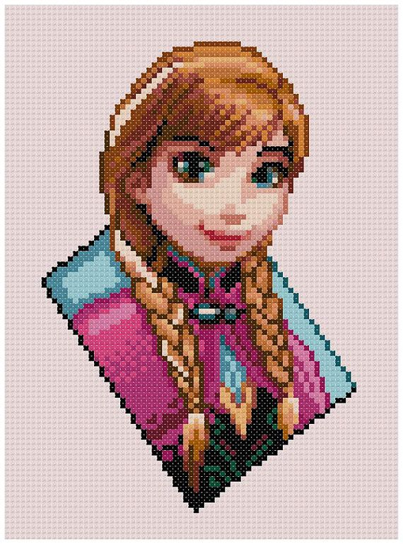 PDF Cross Stitch pattern 0206.Princess Anna Frozen by PDFcrossstitch
