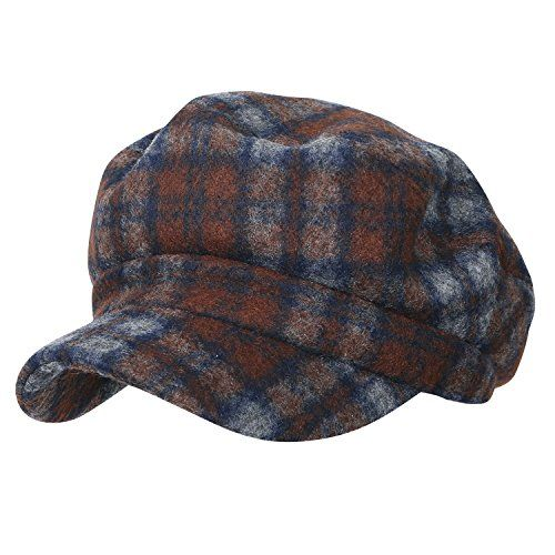 ililily Tartan Checkered Flat Top Newsboy Cabbie Cap Duck Bill Flat Hunting Hat Style: classic style wool blend newsboy hat fitted big apple cabbie cap Interior: soft cotton lining flat cap Brim: casual duck bill cap with curved stiff brim in front Design details: tartan checkered vintage...