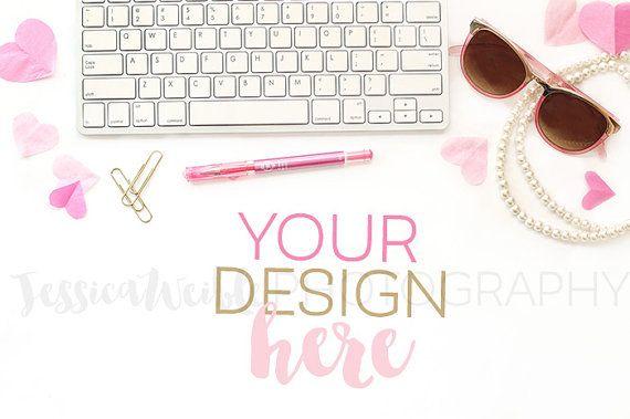 Feminine Pink Heart Keyboard Styled Desktop by JWeiblePhotography
