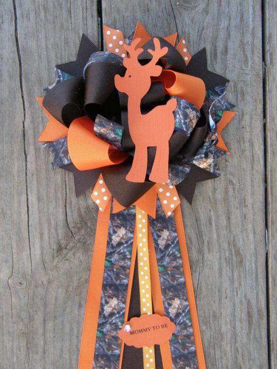 Mossy Oak Camo Baby Shower corsage / Mossy Oak baby by bonbow