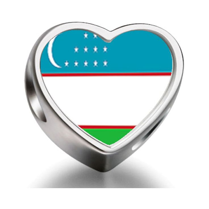 Bracelet Charm Bead Uzbekistan flag Heart Sterling Silver Charm Beads Biagi beads European Charms Bracelets ** For more information, visit image link. #Charms