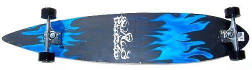 Krown Blue Flame Complete Longboard Skateboard by Krown. $63.09. Amazon.com                The Krown Blue Flame longboard is a great choice for commuting around campus or town. The board, which measures 42 inches long and 9 inches wide, is adorned with striking blue flame artwork.   Specifications  Length: 42 inches Width: 9 inches Deck: 10-ply Canadian maple Wheels: 70mm/78a mag wheels Bearings: ABEC-7 with smoke black cover Trucks: 7-inch heavy-duty aluminum, All...