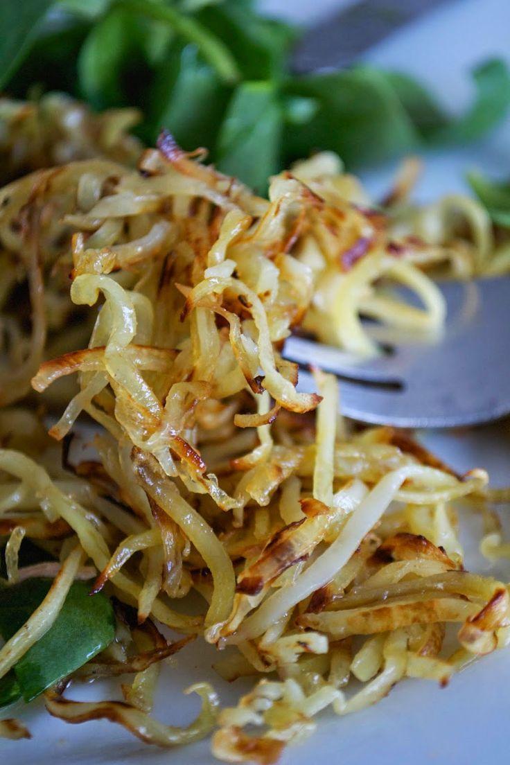 White Sweet Potato Garlic Shoestring Fries (Or Fried Swoodles) | Comfort Bites