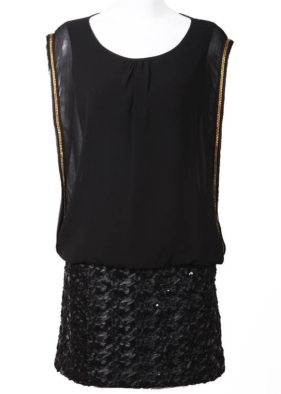 Black Sleeveless Sequined Embroidery Dress