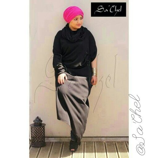 1arm asymetrical dress with built in hijab.